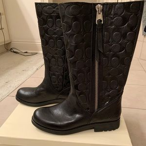 Black Learher Coach Boots NWT